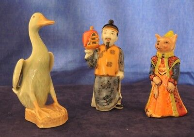Chinese Man Figure Base Marks + Chinese Type Duck + Medieval Lady Fox #19