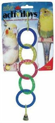 Small Bird Toy Olympia rings & bell for Cockatiels etc