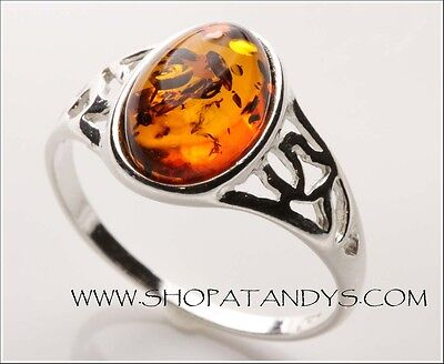 Stunning Genuine Baltic Amber 925 Sterling Silver Ring Size 10