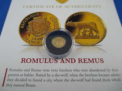 2007 - Romulus And Remus - Macquarie Mint - The Smallest Gold Coin -