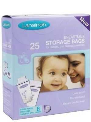 🌺Lansinoh Baby Breast Milk Storage Bags 25 Pieces Double Pre Sterilized Zipper