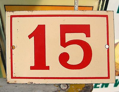 Vintage French Enamel Porcelain Door House Gate Number Sign Plate 15