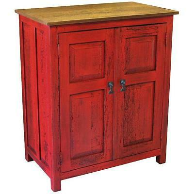 Country Style Kitchen Cabinet Handmade Rustic Red Wood Vintage Storage Furniture