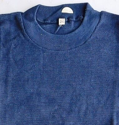 Childs vintage tee shirt school sports kit UNUSED 1960s boys girls gym top navy