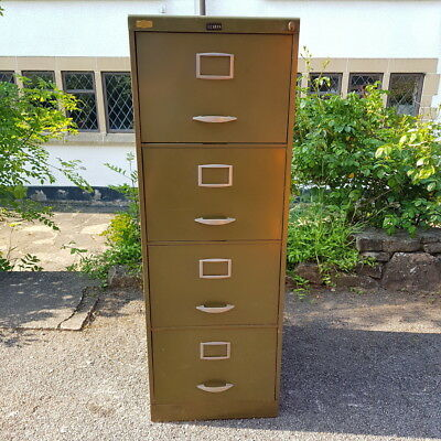 A Vintage Industrial Green Metal Retro Office or Home 4 Drawer Filing Cabinet