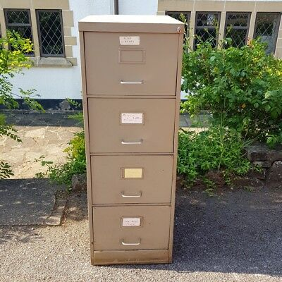 Vintage Industrial Type Green Metal Retro Office or Home 4 Drawer Filing Cabinet