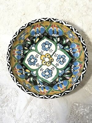 Vintage Handmade Pottery Small Bowl Hand Painted Bright Retro Floral Design 1965