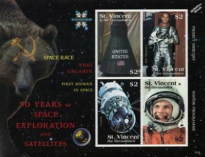 YURI GAGARIN First Man in Space / Alan Shepard Stamp Sheet (2008 St Vincent)