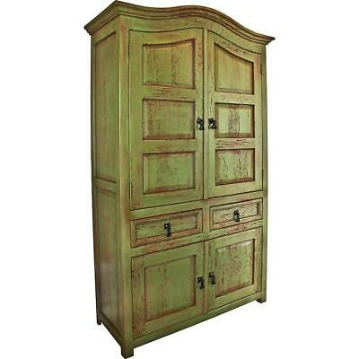 Mexican Vintage Armoire Wardrobe Closet Green Finish Solid Wood Bedroom Storage