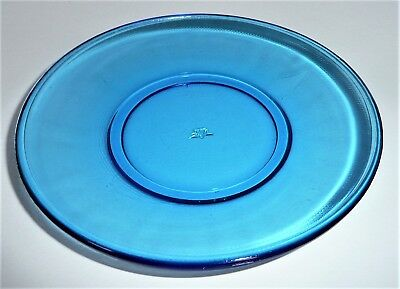 Akro Agate Large Stippled Band Trans Blue Plate ~ Child Tea Set~ 12 Available