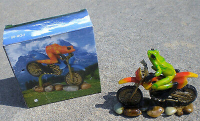 NICE Green Frog showing Peace Sign Riding Dirt Bike Motorcycle FIGURINE w BOX
