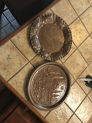 Beautiful hand hammered copper plates