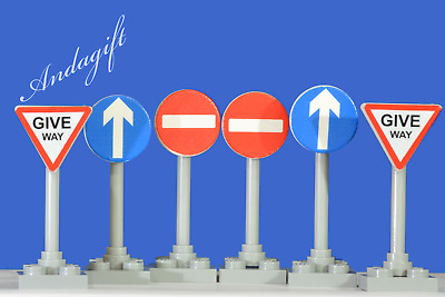 LEGO city car road signs no entry, one way and give way road signs aag