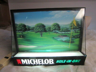 Michelob Beer Sign Motion Light Up Golfing Scene Golf Ball Game Room Bar Pub W@w