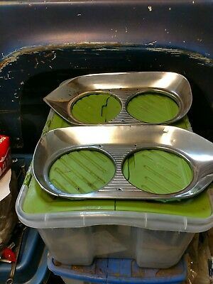 1960 60 Ford Pickup Truck Headlight Bezels Pair Chrome
