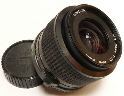35mm f1.8 Minolta MD in very good condition. Large Aperture Wide Angle Vintage