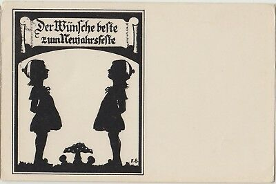 SILHOUETTE Children New Year TOADSTOOL German FANTASY PC 1936