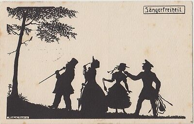 SILHOUETTE Musicians Men Ladies Singing Bird NATURE Vintage German PC 1920