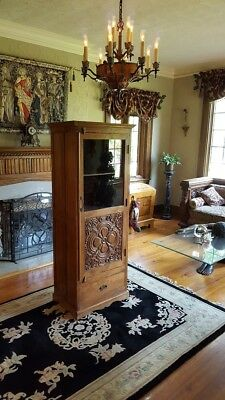 1800's  Gothic Quatrefoil Hand Carved Linen, Display, or Pantry Storage Cabinet