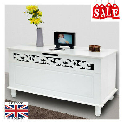 White Carved Wooden Chest Trunk Foldable Lid Bench Storage Ottoman Shabby Chic