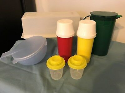 Tupperware 518 Cheese Keeper~3535 Sm.pitcher~1329-Pump Disp/2~101 Shakers/2~4201