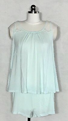 Maternity Rosie Pope Pajama Sleep Set Blue Lace Tank and Shorts SIZE S, M, L $54