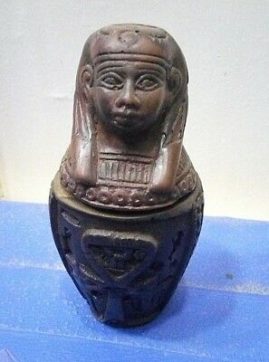 ANCIENT EGYPTIAN JACKAL CANOPIC Jar Antique Egyptian Jackal