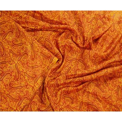 Sanskriti Antique Vintage 100% Pure Silk Saree Yellow Paisley Printed Sari