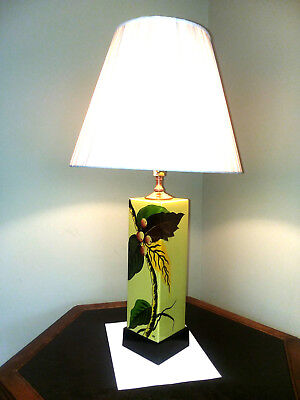 French Art Nouveau Lamp Hand Painted Signed Ceramic Restored Deco Floral Vintage