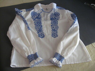 Vintage Hungarian Embroidered Blouse Top Blue&White Peasant M-L 164-45