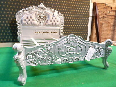 """UK STOCK 4'6"""" Double size Silver / Grey upholstered French styl rococo bed frame"""