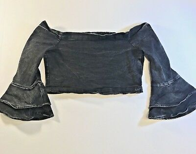 6ae064e633cba Zara Womens Off The Shoulder Crop Top Ruffle Bell Sleeve Denim Bardot SZ M