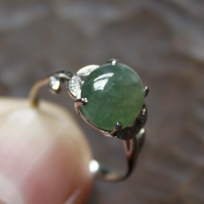 14K Size 6 1/2 * CERTIFIED (A) Natural Icy Green Jadeite JADE w/ Diamonds Ring