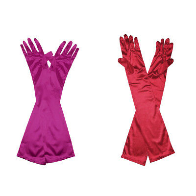 2Pairs Long Opera Gothic Satin Gloves Womens Fancy Dress Elbow Evening 20s