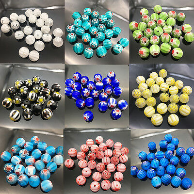 20Pcs Mixed Glass Flower Inside Lampwork Beads Round Spacer Millefiori Beads 8mm