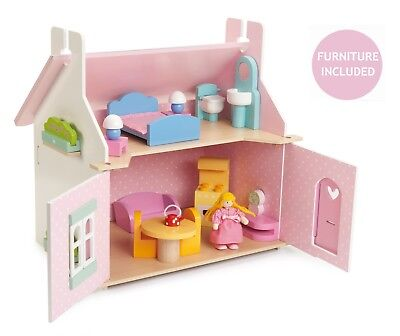NEW Le Toy Van Lily's Lilys Cottage Wooden Dolls House & Furniture Included