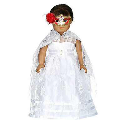 White Wedding Dress + Veil Party Fits 18 Inch Dolls Bride Clothes Pro Craft