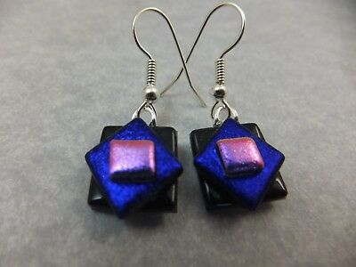 Handmade Dichroic Glass * Purple & Pink * Earrings with Surgical Steel Hooks