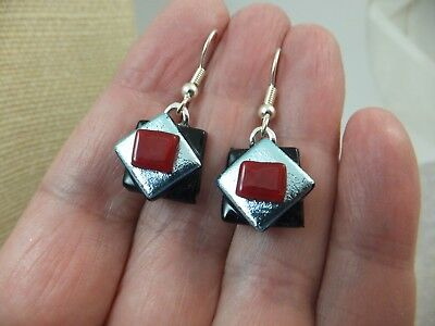 Handmade Dichroic Glass * Black Red Silver * Earrings with Surgical Steel Hooks