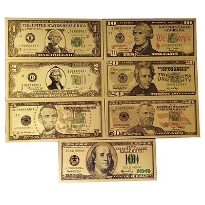 7PCS Gold Dollar Bill Full Set Gold Banknote Colorful USD 1/2/5/10/20/50/100 ch
