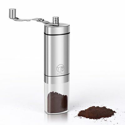 TISRO Coffee Grinder, Manual Conical Burr Grinder with Foldable Crank Arm. In me