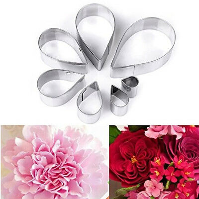 7Pcs Rose Flower Petal Stainless Steel Cookie Cutter DIY Pastry Mold Cake Decor