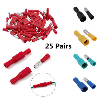 50pcs/pack Female and Male Insulated Electric Connector Crimp Bullet Terminal