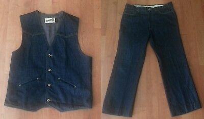 1970s LEVI'S PANATELA Denim Vest Pants 2 Piece Suit Disco (see measurements)