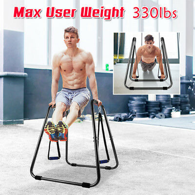 330lbs 2in1 Strap Non-Slip Dip Station Stand Body Press Fitness Exercise OT067