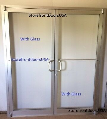 COMMERCIAL STOREFRONT DOOR, FRAME & CLOSER 6'0 X 7'0 PAIR, CLEAR FINISH w/Glass