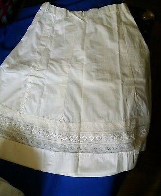 Antique / vintage cotton half-slip with 3-band lace border, hook & eye closure