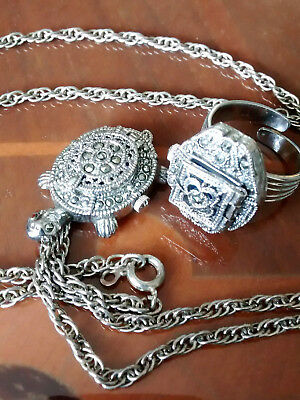 f2e89f76aa9 VINTAGE PICADOR LONDON marcasite ring watch and pendant turtle watch ...