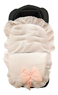 Luxury British Broderie Anglaise Character Design Universal Car Seat Footmuff