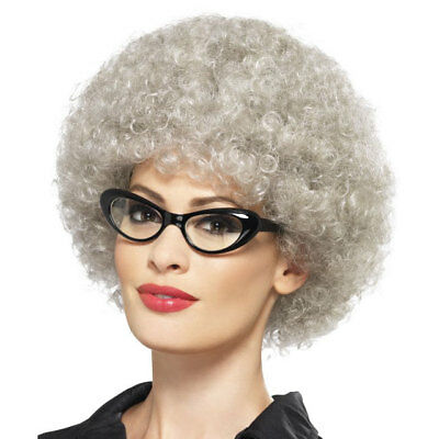 Adult Granny Perm Wig Grey Afro Old Lady Fancy Dress Costume Accessory 43055